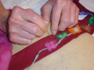 Needle felt Merino wool flowers,    Barb Marr